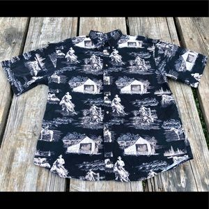 Bit & Bridle horse print shirt men's XL